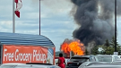 Fire erupts at Superior Propane in Barrie, Ont., on Fri., July 30, 2021 (Courtesy: Traci Dixon)