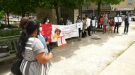 After the fourteenth femicide of 2021, protesters gathered in Montreal to demand the government to more to address violence against women on Fri., July 30, 2021.