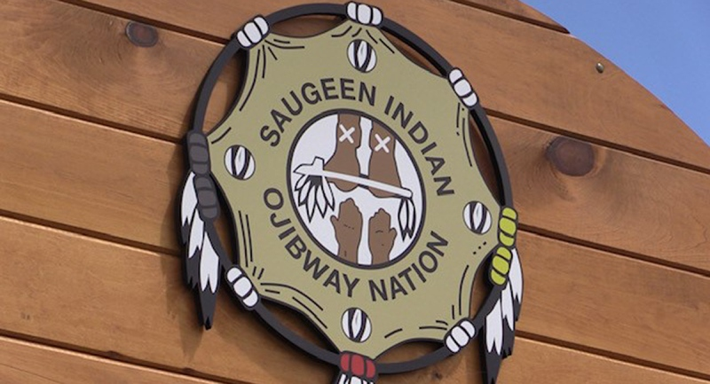 A sign at the offices of the Saugeen Ojibway Nation is seen Friday, July 30, 2021. (Scott Miller / CTV News)