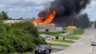 WATCH: View of propane fire in Barrie from roadway
