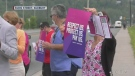 Sudbury hospital workers rallied outside Health Sciences North Thursday demanding changes to the Ford government's Bill 124. July 29/21 (Molly Frommer/CTV Northern Ontario)