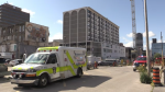 Several units were evacuated after noxious substance was released at an apartment in downtown London, Ont. on Friday, July 30, 2021. (Daryl Newcombe / CTV News)