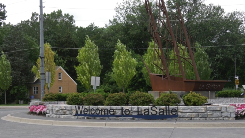 A sign welcoming people to LaSalle, Ont. is seen Friday, July 30, 2021. (Chris Campbell / CTV Windsor)