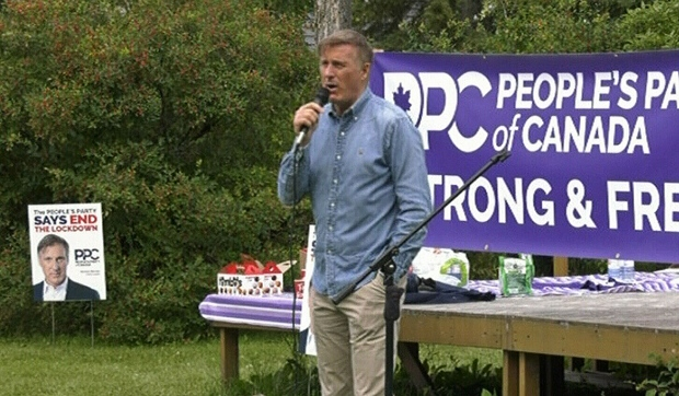 Kicking off his 'Mad Max Northeastern Ontario' tour in Iroquois Falls, People's Party of Canada leader Maxime Bernier addressed northerners Friday, calling for an end to COVID-19 lockdowns, political correctness and what he said are ineffective Liberal policies. (Photo from video)