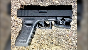 A photo of the imitation Glock air pistol ASIRT says was recovered from the scene of a fatal police shooting on Tuesday, July 27, 2021 (Source: ASIRT)
