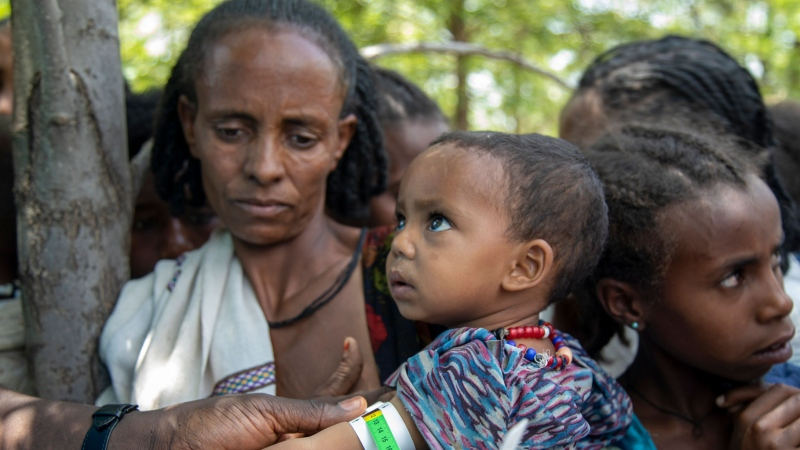 A Joint UN and INGOs team carries out a rapid response mechanism in response to the humanitarian needs of communities affected by the ongoing conflict in Ethiopia's Tigray region, Monday July 19, 2021. (UNICEF via AP)