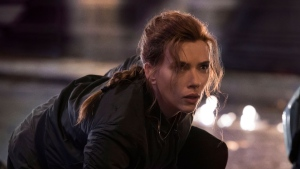 This image released by Disney shows Scarlett Johansson in a scene from 'Black Widow.' (Jay Maidment/Disney-Marvel via AP)