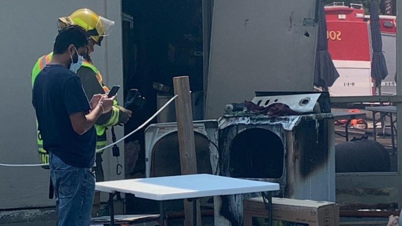 Wayside Restaurant fire in Talbotville, Ont. on  July 31, 2021. (Brent Lale/CTV London)