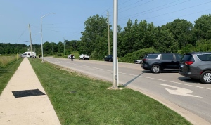 London, Ont. police investigate a fatal shooting on Pack Road in the city's southwest corner on July 31, 2021. (Brent Lale/CTV London)