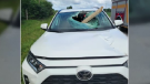 A wooden board smashed through the windshield of an SUV on Hwy 89. (Courtesy: OPP West Region)