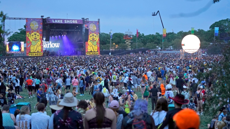 A general view of the crowd on day two of the Lollapalooza music festival on Friday, July 30, 2021, at Grant Park in Chicago. (Photo by Rob Grabowski/Invision/AP)