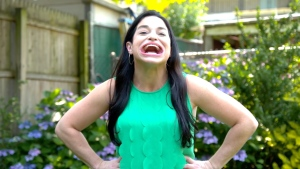 Samantha Ramsdell, 31, from Connecticut, now holds the Guinness World Record for largest mouth gape (female). (Guinness World Records/YouTube/CNN)