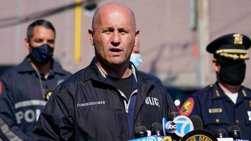 This photo from Tuesday April 20, 2021, shows Nassau County Police Commissioner Patrick Ryder as he speaks in West Hempstead, N.Y. (AP Photo/Mary Altaffer, File)