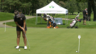 Sonya Weerasinghe from Richmond Hill drains a put on the practice green ahead of Monday's tournament at the Brockville Country Club. (Nate Vandermeer/CTV News Ottawa)