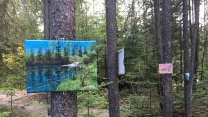 'Bush Art' is the newest exhibition by the Porcupine Art Club.  Eighteen works by its members are displayed on trees on a private bush trail in South Porcupine. July 31/21  (Lydia Chubak/CTV News Northern Ontario)