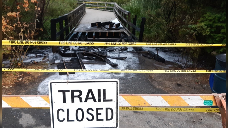 Police are investigating a suspicious fire that burned a section of the boardwalk bridge at Mill Lake Park in Abbotsford early Saturday morning. (Abbotsford Police Department)