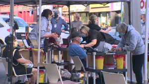 An pop-up vaccine clinic was held at Guelph's outdoor dining district on July 30, 2021.
