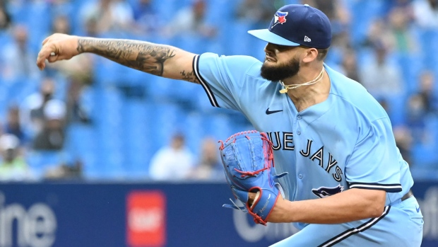 Toronto Blue Jays' Alek Manoah pitches during the first inning in MLB baseball action against the Kansas City Royals in Toronto on Saturday, July 31, 2021. THE CANADIAN PRESS/Jon Blacker