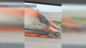 Vehicle fire on Hwy 400 in Barrie
