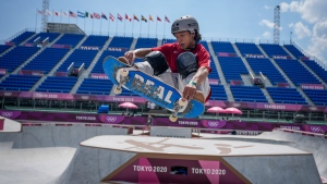 Ayumu Hirano of Japan takes part in a men's Park Skateboarding training session at the 2020 Summer Olympics, Saturday, July 31, 2021, in Tokyo, Japan. (AP Photo/Ben Curtis)