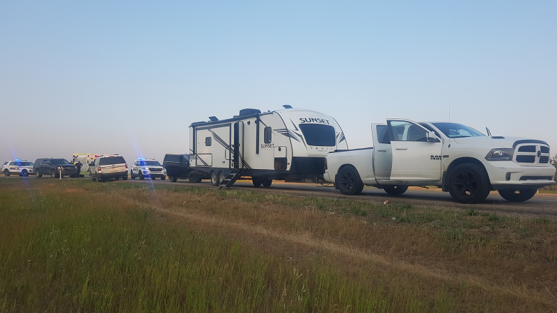 RCMP investigating truck and trailer. (Source: RCMP)