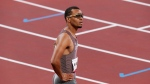 Andre De Grasse of Canada reacts after racing in the Men's 100m semifinal during the summer Tokyo Olympics in Tokyo, Japan on Sunday, August 1, 2021. THE CANADIAN PRESS/Adrian Wyld
