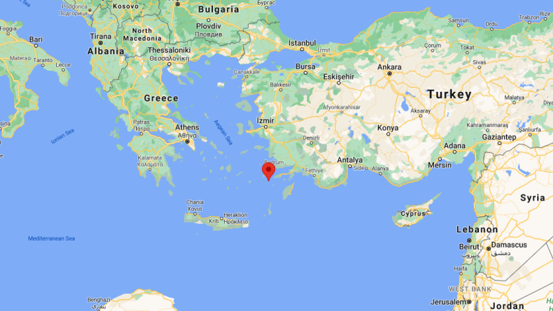 A 5.4-magnitude tremor occurred early Sunday in the Aegean Sea, near the small Greek island of Nisyros, seen on this map. (Google Maps)