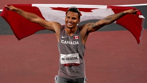Canada's Andre De Grasse reacts after his bronze medal finish in the men's 100m final event during the Tokyo Summer Olympic Games, in Tokyo, Sunday, Aug. 1, 2021. THE CANADIAN PRESS/Nathan Denette