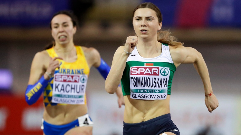 Krystsina Tsimanouskaya of Belarus competes at the European Athletics Indoor Championships at the Emirates Arena in Glasgow, Scotland, Saturday, March 2, 2019. (AP Photo/Alastair Grant)