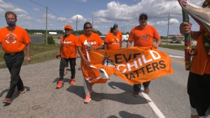 Patricia Ballantyne from Saskatchewan arrived in Timmins.  She is on a healing journey she calls a 'Walk of Sorrow' in support of all who've been affected by residential schools. Aug.1/21 (Lydia Chubak/CTV News Northern Ontario)