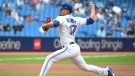 Toronto Blue Jays' Jose Berrios pitches during the first inning in MLB baseball action against the Kansas City Royals, in Toronto, Sunday, Aug. 1, 2021. THE CANADIAN PRESS/Jon Blacker