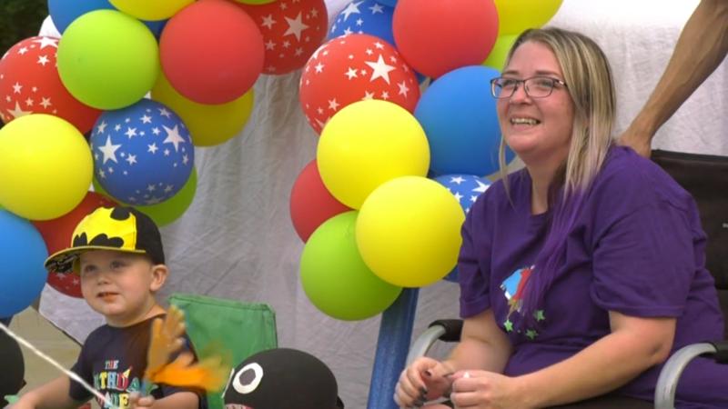 Dozens came to help celebrate the birthday of a toddler battling cancer. Sunday Aug. 1, 2021 (CTV News Edmonton)