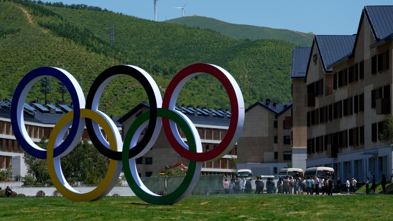 Journalists tour the Olympics Village for Beijing 2022 Olympic and Paralympic Winter Games and Paralympic Winter Games, during a media tour in Zhangjiakou in northwestern China's Hebei province on Wednesday, July 14, 2021. (AP Photo/Andy Wong)