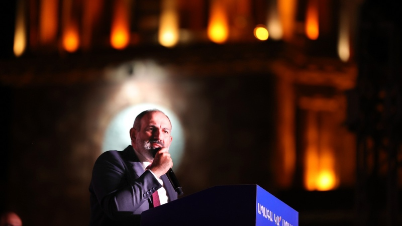 Armenian acting Prime Minister Nikol Pashinyan speaks during a rally in his support after winning snap parliamentary elections in Yerevan, Armenia, on June 21, 2021. (Tigran Mehrabyan / PAN Photo via AP)