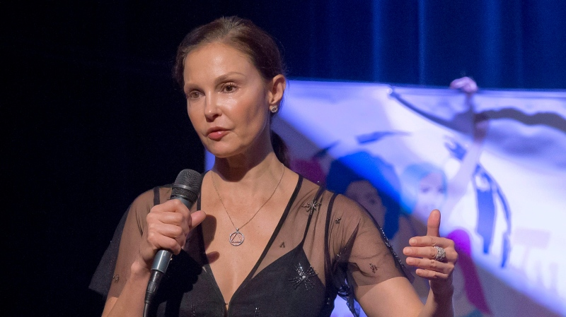 American actress Ashley Judd gestures as she speaks during a conference about the violence of prostitution in Paris, France, in this Nov. 23, 2018 file photo. (AP Photo/Michel Euler)