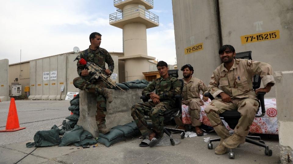 Afghan security forces at Bagram air base