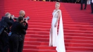 Sharon Stone poses for photographers upon arrival at the 74th Cannes International Film Festival, on July 17, 2021. (Vadim Ghirda / AP)