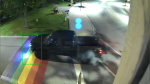 A still from a video shared by Gananoque Police showing a driver accelerating over a painted Pride crosswalk at around 3 a.m. Monday, Aug. 2, 2021. (Photo: Gananoque Police)