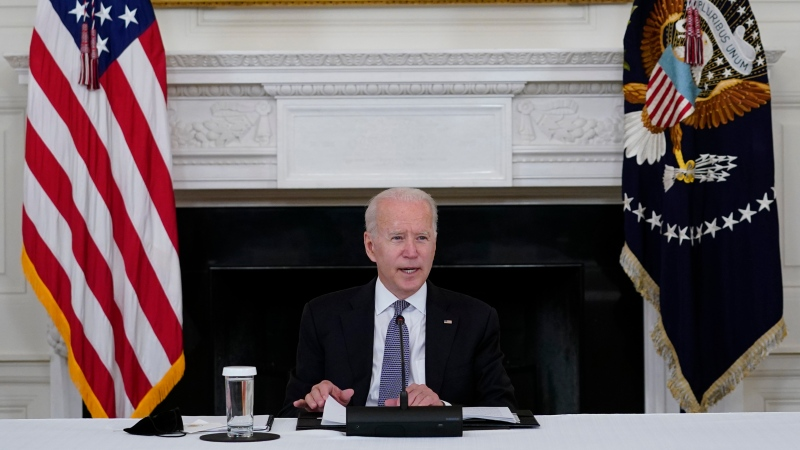 President Joe Biden speaks during a meeting with Cuban-American leaders in the State Dining Room of the White House in Washington, Friday, July 30, 2021. (AP Photo/Susan Walsh)