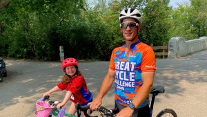 Adam Lerner is cycling 1000 kilometres in support of children's cancer research. (Source: CTV News/Zach Kitchen)