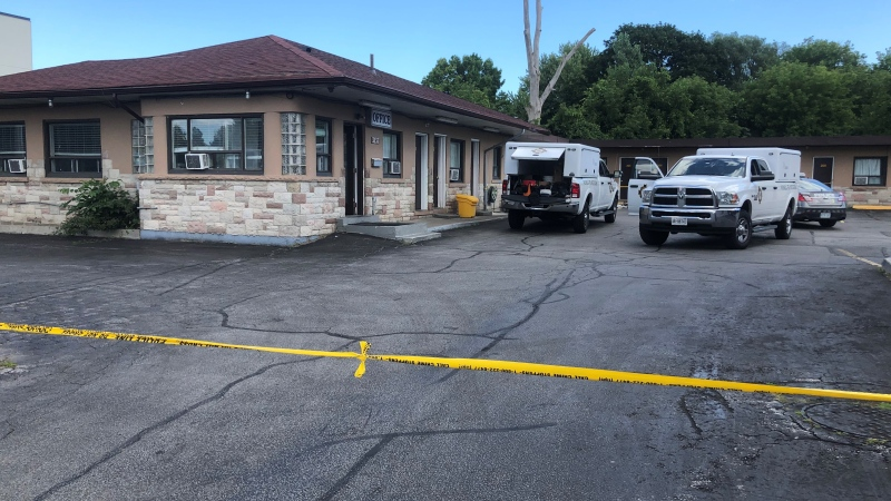 Emergency crews attend the scene of a fatal fire at a motel in Scarborough on Aug. 2, 2021. (Mike Walker/CTV News Toronto)