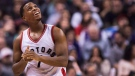 Toronto Raptors guard Kyle Lowry (7) smiles while playing against the Milwaukee Bucks during first half NBA basketball action in Toronto on Friday, January 27, 2017. THE CANADIAN PRESS/Nathan Denette