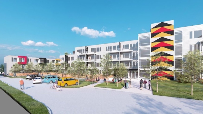 A digital rendering of a planned affordable housing development for Squamish Nation members, to be built on Mathias Road, on Squamish Nation land on the North Shore.