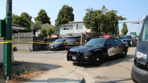 A heavy police presence is seen in the area of East 59th Avenue and Knight Street following a shooting on Aug. 2, 2021.