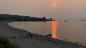 A hazy sky caused by wildfire smoke in the B.C. Interior is seen over the Lower Mainland on Aug. 2, 2021.