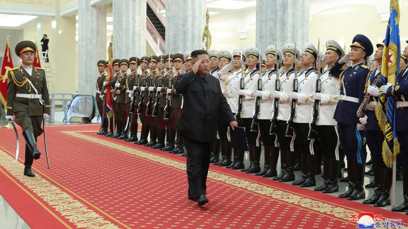 In this photo provided by the North Korean government, North Korean leader Kim Jong Un, centre, reviews an honor guard, in Pyongyang, North Korea, on July 24, 2021. The content of this image is as provided and cannot be independently verified.(Korean Central News Agency/Korea News Service via AP)
