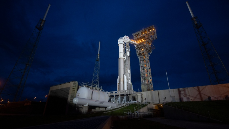A United Launch Alliance Atlas V rocket with Boeing's CST-100 Starliner spacecraft aboard stands on the launch pad ahead of the Orbital Flight Test-2 mission, Monday, Aug. 2, 2021 at Cape Canaveral, Fla. (Joel Kowsky/NASA via AP)