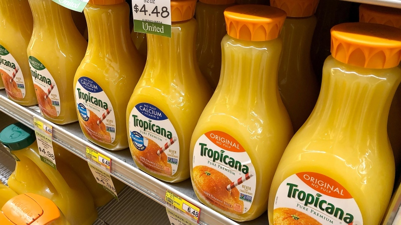 Bottles of Tropicana juice for sale at a grocery store in San Rafael, Calif. (Justin Sullivan/Getty Images)