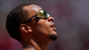 Canada's Andre De Grasse reacts after his heat of the men's 200-metres at the 2020 Summer Olympics, Aug. 3, 2021, in Tokyo. (AP Photo/Petr David Josek)