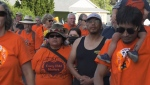 About 3,000 residential school survivors, First Nations community members and supporters marched in solidarity with the Penelakut Tribe in Chemainus, B.C. on Aug. 2, 2021. (CTV News)